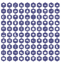 100 clouds icons hexagon purple vector