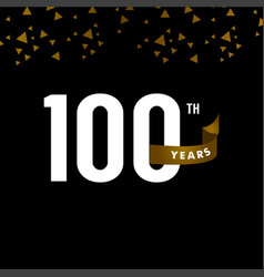 100 years anniversary number with gold ribbon vector