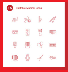16 musical icons vector