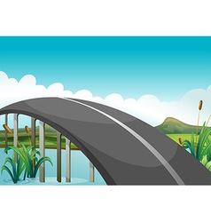 A curve road above the lake vector image
