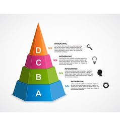 Abstract 3D pyramid options infographics template vector image