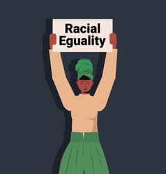 african american woman activist holding stop vector image