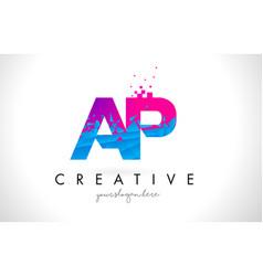 Ap a p letter logo with shattered broken blue vector