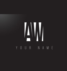 Aw letter logo with black and white negative vector