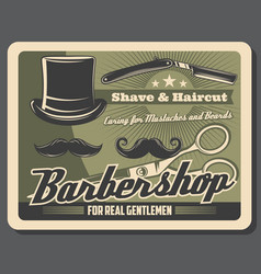 Barbershop mustache beard shave and haircut vector