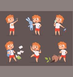 behavior kids bad angry boys teasing children vector image