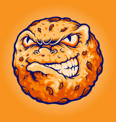 Biscuit chocolate logo angry cookies mascot vector
