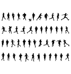 black silhouettes running vector image