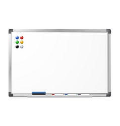 blank magnetic dry erase whiteboard vector image