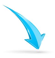 blue down arrow web 3d shiny icon vector image