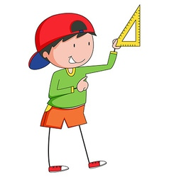 Boy measuring with triangle ruler vector image