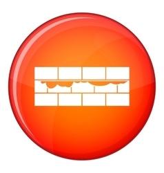 Brick wall icon flat style vector