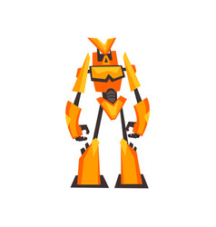 Bright yellow-orange robot transformer with claw vector
