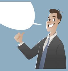 businessman and empty speech balloon cartoon style vector image
