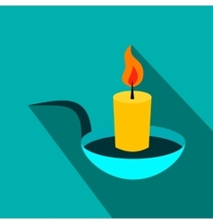 Candle flat icon with shadow vector image