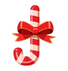 Candy cane with bow icon cartoon style vector