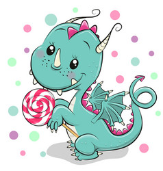 cartoon dragon with lollipop on a white background vector image