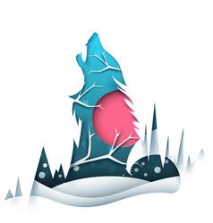Cartoon paper landscape wolf vector