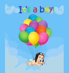 cartoon with newborn baby falling down with vector image