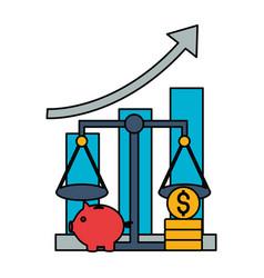 chart report piggy bank coins stock market vector image