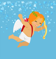 cheerful cupid holding bow valentines day vector image