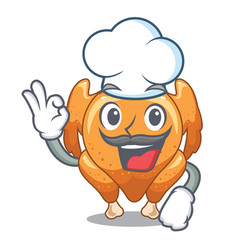 Chef roast chicken served cartoon table vector