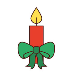christmas candle green bow burning celebration vector image vector image