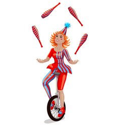 Circus girl juggler on a unicycle vector