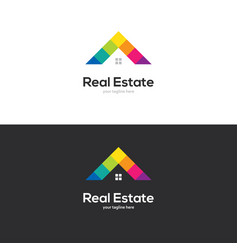 colorful house roof logo design vector image