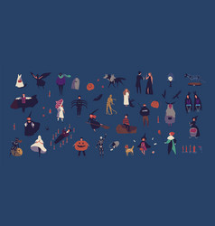 crowd tiny people dressed in various halloween vector image