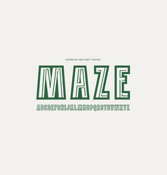 Decorative sans serif font with a maze inside vector