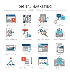 Digital Marketing Line Icon Set vector image