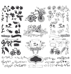 Doodle floral grouphand sketch rustic silhouette vector