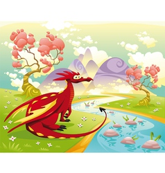 Dragon in landscape vector