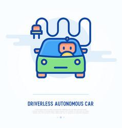 Driverless autonomous car thin line icon vector