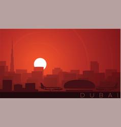 dubai low sun skyline scene vector image