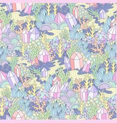 Fantasy landscape pattern vector