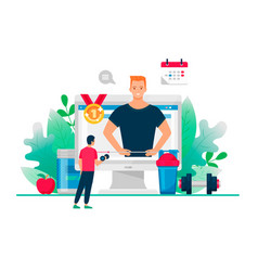 Fit man with dumbbell looking on computer vector