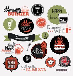 food set labels vector image