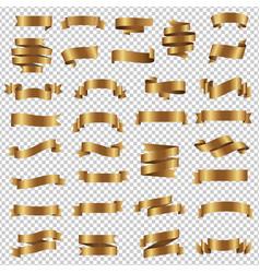 golden ribbon set isolated transparent background vector image