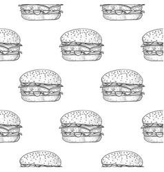 hamburger seamless pattern hand drawn sketch vector image