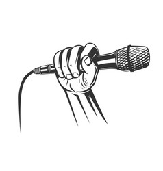 Hand holding a microphone in a fist vector