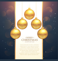 Hanging golden christmas balls festival greeting vector