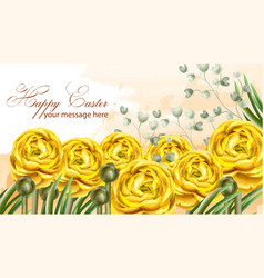 happy easter card yellow flowers watercolor vector image