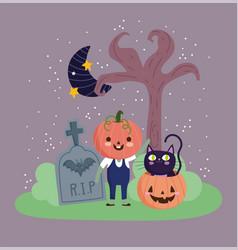 happy halloween pumpkin costume cat moon vector image