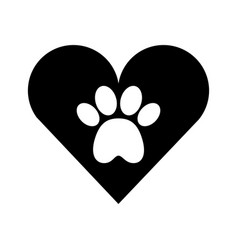 heart with paw footprint mascot isolated icon vector image
