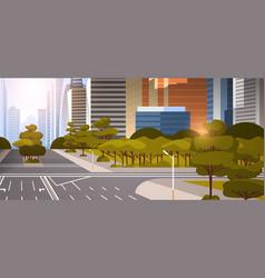 Highway asphalt road with marking arrows traffic vector