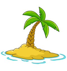 Island with palm tree vector