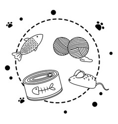 Isolated food and toys for cat design vector