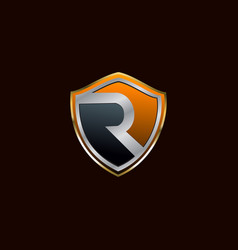 Letter r security logo design concept template vector